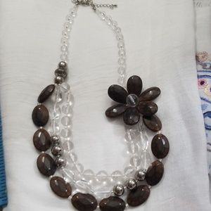 Brown & clear flower necklace